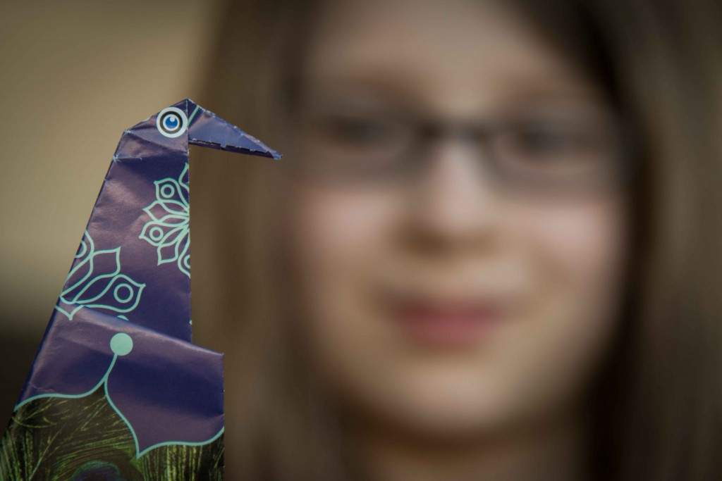 Phoenix kept herself busy at the United Club in Newark with origami peacocks.