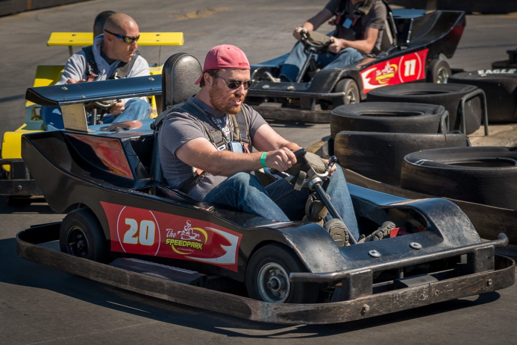 One of our fellow ICC'ers leads a desperate pack of go-kart racers around a tight turn.