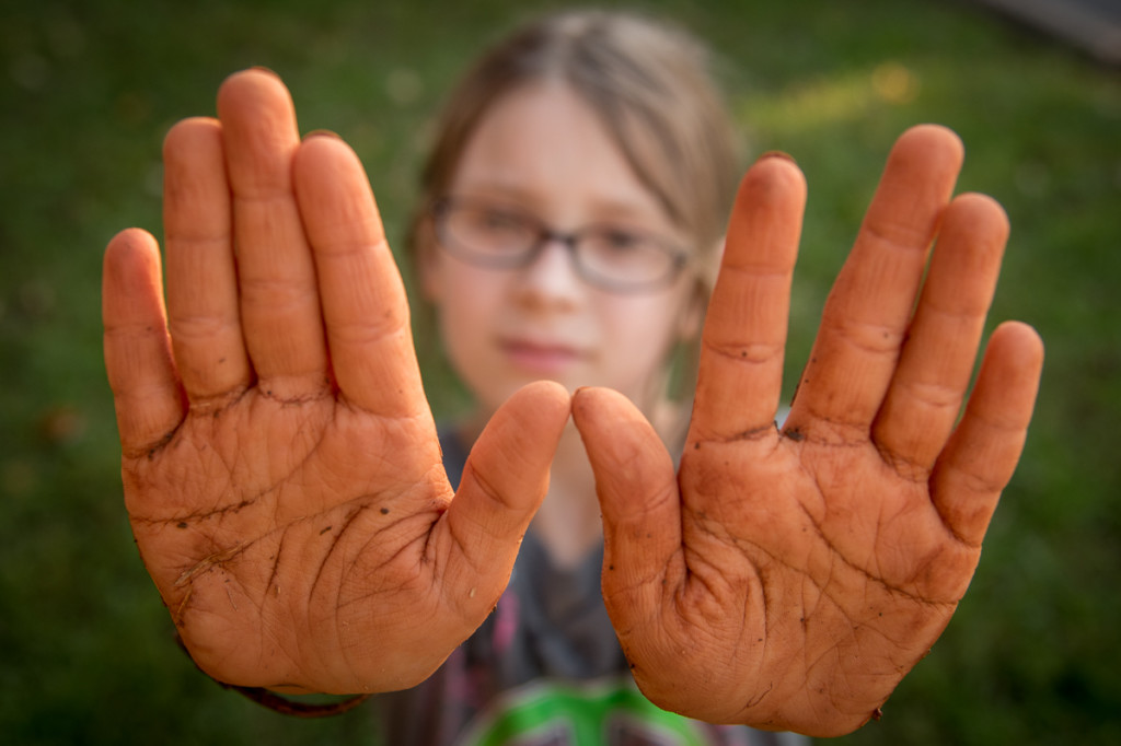 """Phoenix shows off her hands after a day spent playing at the """"creek."""" She spent the day making pots and bowls. I made her wash these off outside before she came inside."""