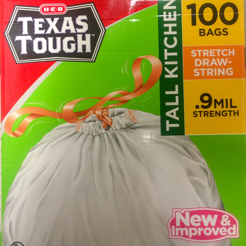 You may see branding, or the beauty of HEB (it's a Texas thing), but I see something completely different: There are more garbage bags in this box than we can use in the time we have remaining in Texas. Yikes!