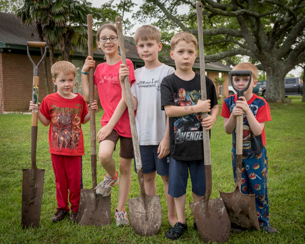 After a long day of tree-planting, the Peacock kids (Nightcrawler, Phoenix, Cyclops, Wolverine & Beast) pause for a moment with their shovels.