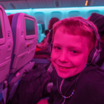 Before we took off from Houston, the cabin lights were set to disco, where they alternated colors like a color wheel. Wolverine liked this feature a lot, and wanted me to make a few photos of him.