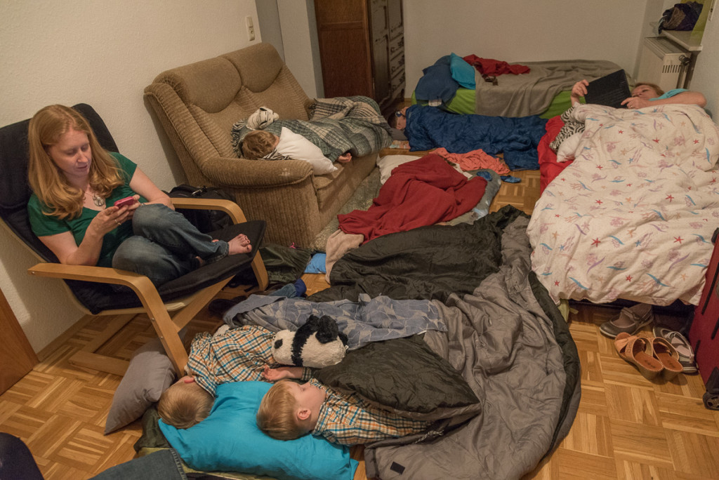 We were blessed to make some new friends who had a vacant efficiency apartment available on the day we arrived, so everyone crammed in and crashed in the wee hours of Tuesday morning. Can you find everyone?